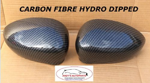 FIAT GRANDE PUNTO 06-2010 PAIR WING MIRROR COVERS CARBON FIBRE HYDRO DIPPED